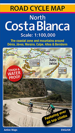 Road cycle map for the Costa Blanca, Spain