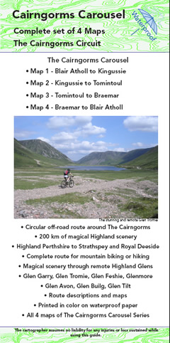 Cairngorms mountain bike circuit, set of 4 maps