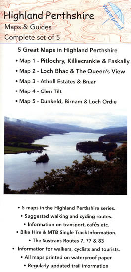 Highland perthshire set of 5 mountain bike maps, Pitlochry, Loch Bhac, Atholl Estates, Geln Tilt, Dunkeld and Birnam