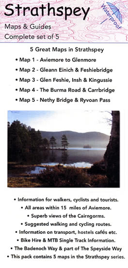 Strathspey set of 5 mountain bike route maps including Aviemore, Glen Einich, Glen Feshie, The Burma Road, Nethy Bridge