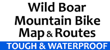 wild boar mountain bike maps tough and waterproof logo