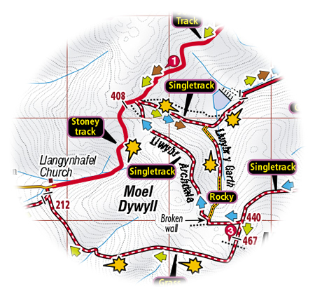 clwyds mountain bike map extract